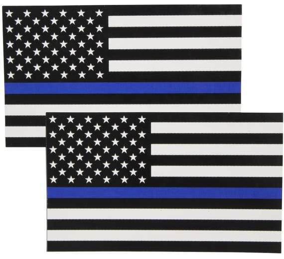 """TWO-3/""""x5/"""" Police Officer Thin Blue Line American Flag Decal Sticker Lives Matter"""