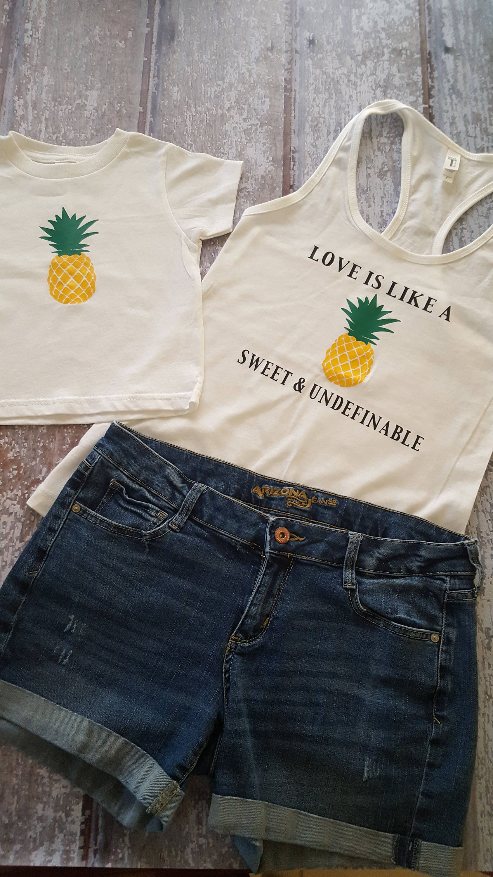 Love Is Like A Pineapple Racerback Tank Baby Shower Etsy Tendencies Tshirt Washed Pocket Nv Navy S Zoom