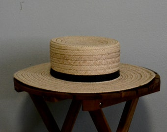 d1aa474330c36d Wide Brim Straw Hat with Black Trim