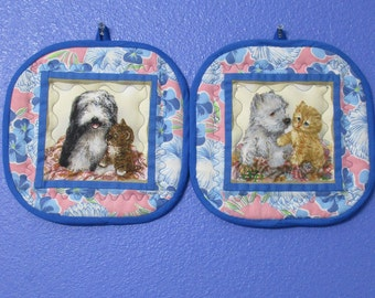"""Giordano puppies and kittens 8"""" potholders, blue & pink vintage feedsack floral trim, Westie dog, Eng Sheepdog,tabby cats, set of 2 hot pads"""