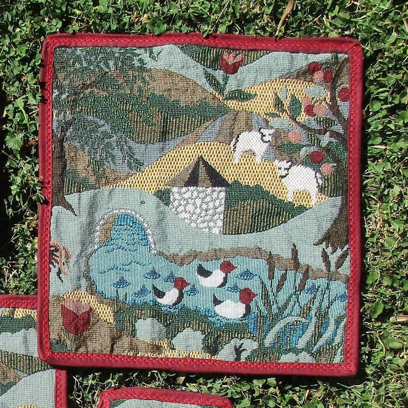 Clear window zip project bag, Country Scene tapestry, 6 sizes, DUCKS,  sheep, dogs, farmhouse, apple tree,low cost, FREE SHIPPING