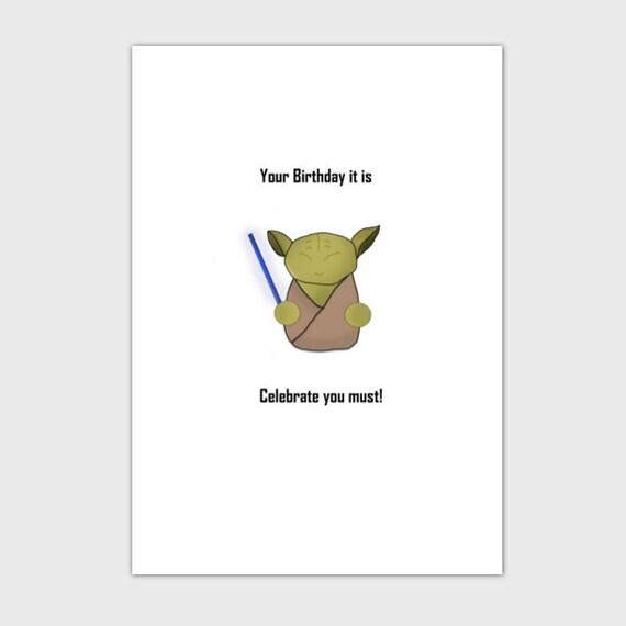 Star Wars Birthday Card Yoda Birthday Card Etsy