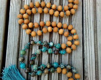 Ocean agate and Sandalwood Mala Beads, 108 Mala Bead, Mala Necklace, Prayer Beads, Yoga Jewelry, Japa Mala, Tassel Nacklace