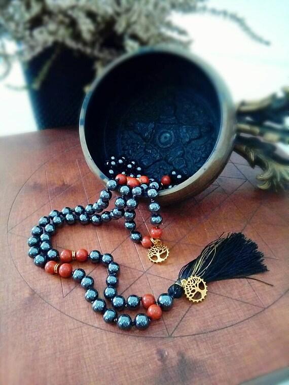 Long tassel hematite necklace  108 beads  Hematite Mala necklace  long black tassel necklace  Hand knotted hematite necklace