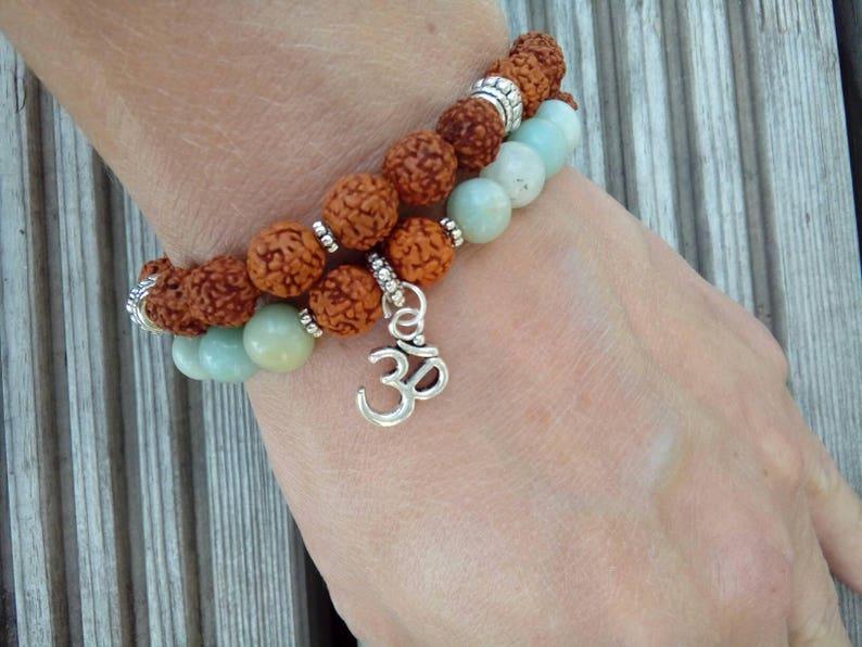 2 bracelet set, Rudraksha, Amazonite, Om braclet, Spiritual Jewelry, Joga  jewelry, Buddhist bracelet, Men bracelet, Unisex bracelet