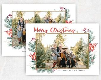 Christmas Photo Card  Vintage Holiday Photo Card  Printable Christmas Card with Greenery  Custom Digital Holiday Card