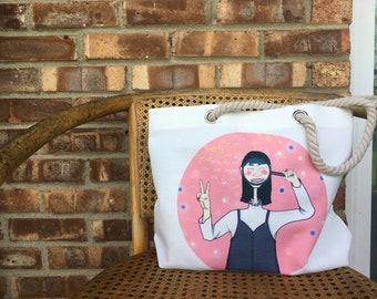 Conniewuart tote canvas bag- book bag, fun gift, illustration, adorable tote, shopper bag, pattern, beach bag, shoulder bag