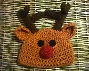 cf5deca8bd2 Rudolph das Rentier-Beanie Mütze für Kinder - häkeln Gorro - Mütze Gehäkelt
