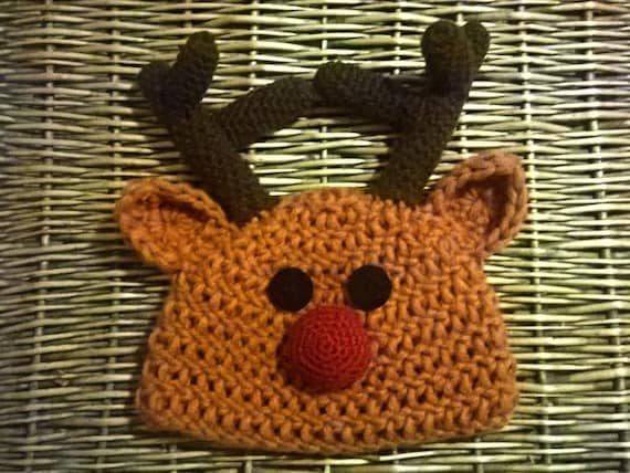 5e2375dd0a7 Rudolph the Reindeer beanie hat for kids Crochet Gorro