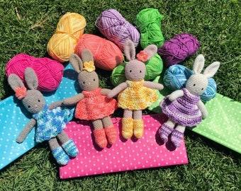 BETTY BUNNY Handmade Crochet Amigurumi Bunny Doll Easter Bunny stuffed animal 20cm - Pinky beige