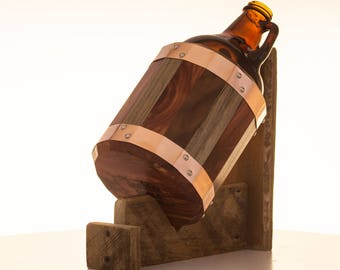 Butcherblock Craft Beer Growler - 64 oz, Real Wood, Personalized, Custom, Hand-crafted, Copper Binding