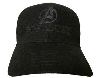 be4d282fa36d7 Marvel s Avengers End Game  3 Comic Book Movie Film Logo in BLACK on BLACK  Adult Baseball Hat OSFA   FlexFit