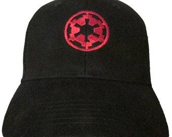 5146fcae09a77 Star Wars - The Imperial Empire - Logo in RED Adult Baseball Hat OSFA    FlexFit