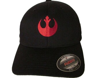 1fa20d08e18c9 Star Wars - Rebel Alliance - The Resistance - Logo in RED Adult Baseball  Hat OSFA   FlexFit