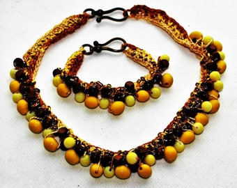 Au Craft Jewelry SET - 'THE BANNA'- Handmade Jewelry Set: Necklace & Bracelet, Brown and Yellow Hues