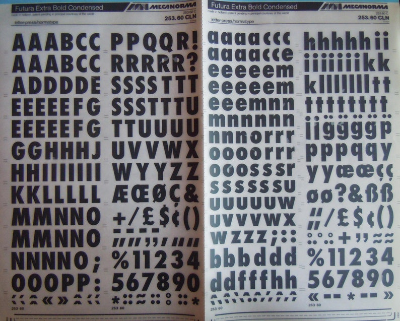 Instant rub on letter transfers FUTURA EXTRA Bold Condensed (Various  sizes/NEW)