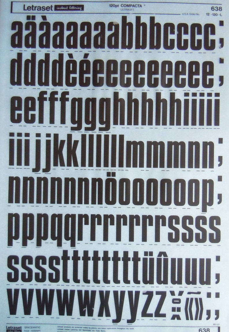 LETRASET instant rub on letter transfers COMPACTA (various sizes) NEW