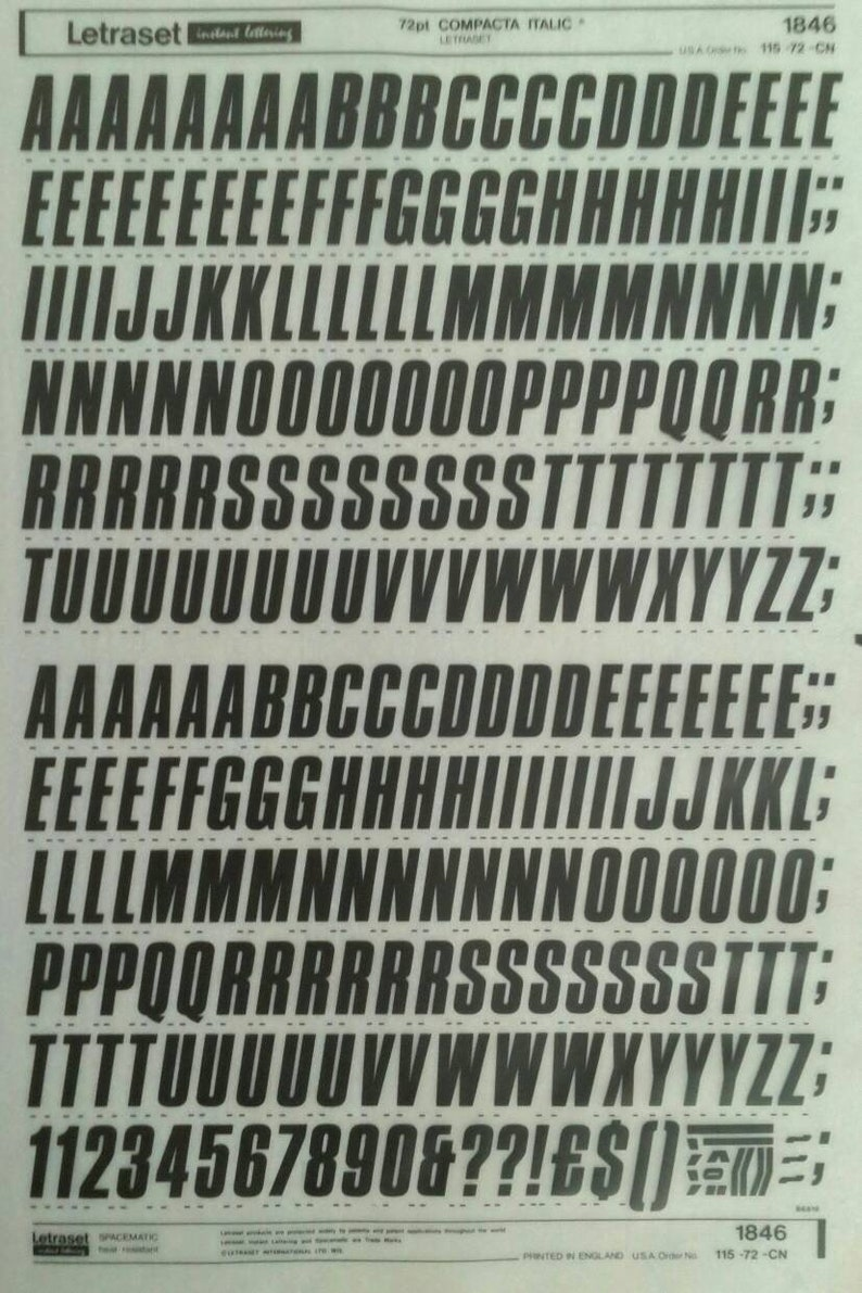 Letraset instant rub on letter transfers COMPACTA ITALIC (various sizes) NEW