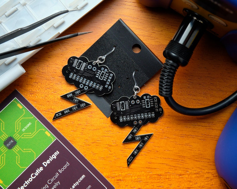 Bare Black Circuit Board Lightning with Plastic Hooks Storm Cloud with NO PARTS Hypoallergenic Earrings