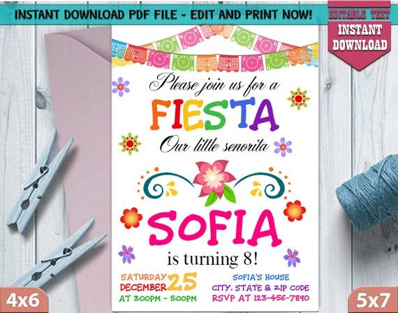 Fiesta Invitation Birthday Mexican Invitations Hispanic Printables