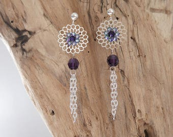 Dangling fine silver and purple (BO116)