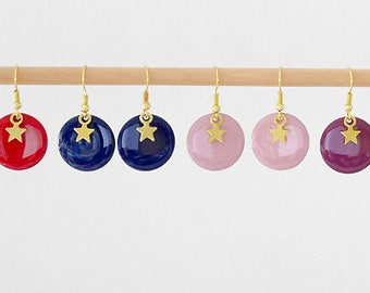 Dangling earrings with round sequins and gold stars (BO130OR) charms