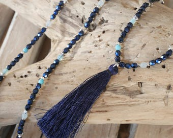 Necklace in Navy Blue pearls, aquamarine, light blue and silver with tassel (SAUT23)