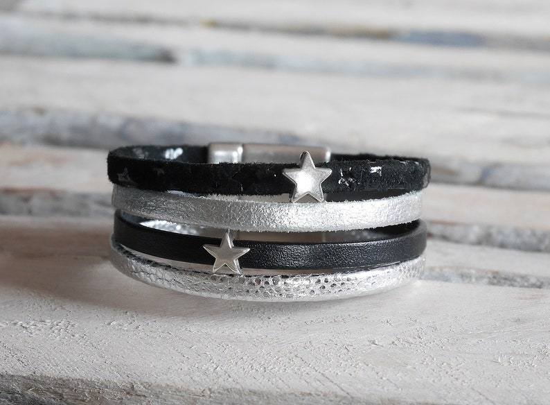 gift Christmas woman or girl Grey or black and silver leather Cuff Bracelet with Silver Star loops BR06