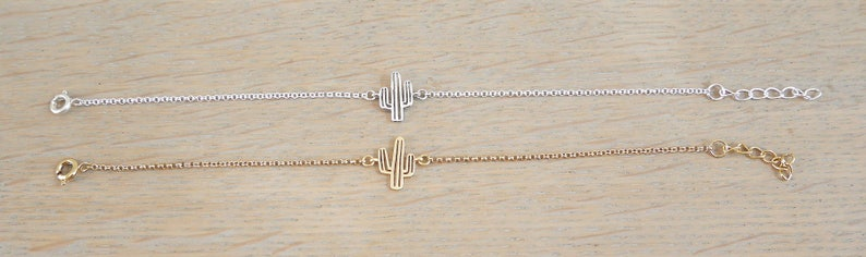 Christmas gift woman or girl Bracelet in very fine golden chain and spacer openwork cactus BRCH11or