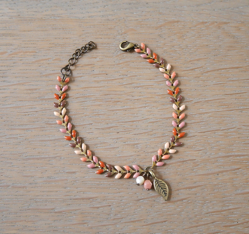 Multicolor beige BREP12 Brown coral and bronze with charm leaf bracelet chain ears. pink