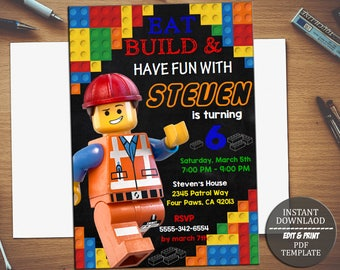 INSTANT DOWNLOAD-Lego Invitation, Lego Birthday Invitation, Lego Party, Lego Birthday Party, Boy Lego Invitation, Boy Lego Editable PDF