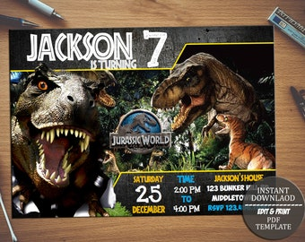 Jurassic World Birthday Invitation Park Party InviteJurassic Instant Download