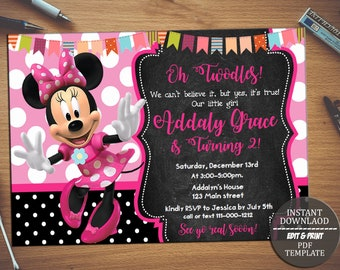 Minnie mouse birthday invitation etsy instant downloadminnie mouse birthday invitation editable invitation invitations birthday invites invitations download pdf filmwisefo