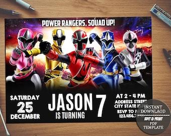 Power Rangers Invitation Birthday PartyPower InvitationPower Ranger EditableDigital File INSTANT DOWNLOAD