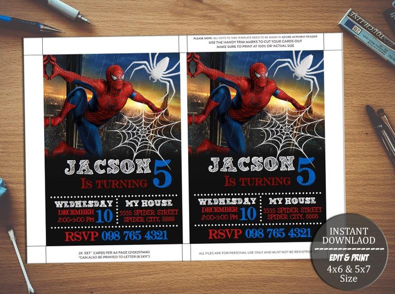 INSTANT DOWNLOAD Spiderman Birthday InvitationSpiderman