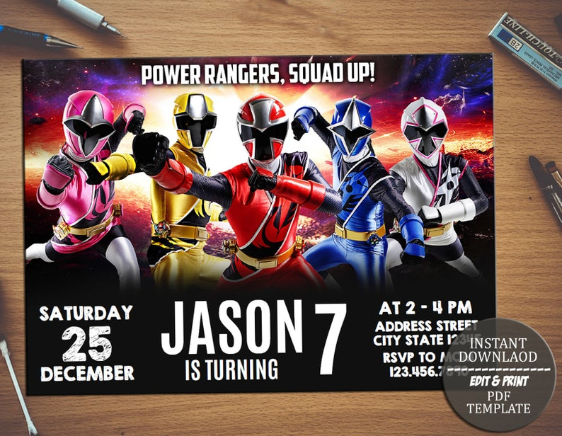 Power Rangers Invitation Power Rangers Birthday Partypower Etsy