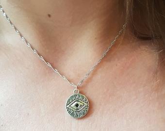 Silver eye necklace   Etsy 00efe2b44cc5