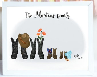 S1208 Barn Name Boots /& Spurs Family Farm Sign with Tractor and Cowboy Boots