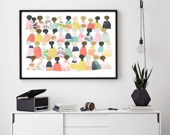 Printable Art, Classroom decor, Classroom art, inclusion art, Diversity art, People Art, Minimalist people, Unity, Rainbow people, culture