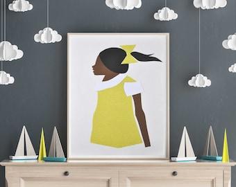 Girl Power, Future is female, Kids room decor, Black girl magic, little black girl, African American Art, Black art, printable art, download