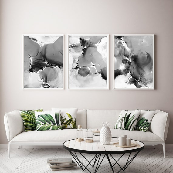 3 Piece Wall Art Large Printable Art Printable Abstract Art Set Of 3 Set Of 3 Prints Black And White Abstract Prints Contemporary Art