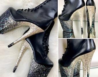 5759fbd4b609 Glitter Angled Ombre Pole Dance   Stripper Boots   Pleaser