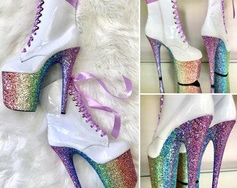 ba0273840c7a Spectrum Ombre Glitter White Pole Dance Boots   Stripper Heels   Pleaser