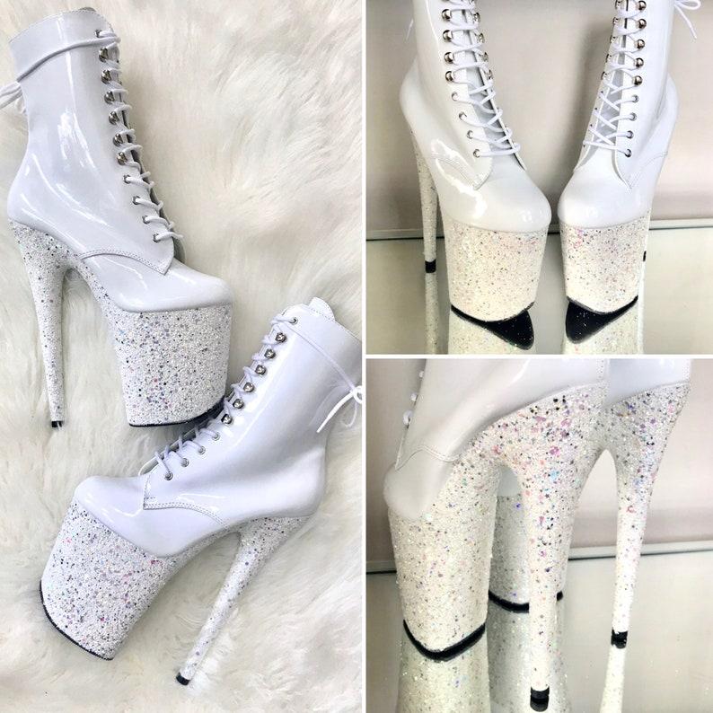 6b6316e1fe White Glitter Boots Pole Dance / Stripper Heels / Pleaser | Etsy