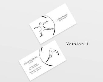 Yoga business card etsy yoga business card with two abstract poses yoga logo yoga instructor yoga studio colourmoves