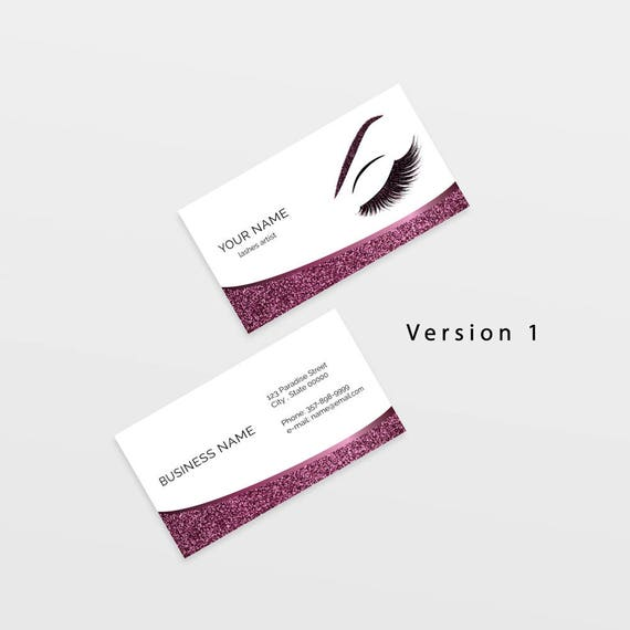 Lashes Business Card Lashes Logo Makeup Business Card Etsy