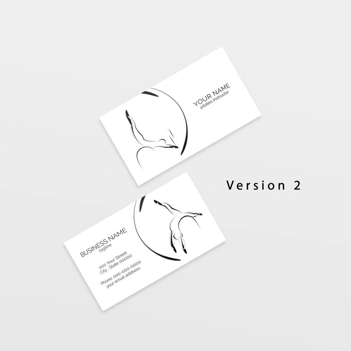 Pilates Business Card With Two Abstract Poses Pilates Logo Etsy