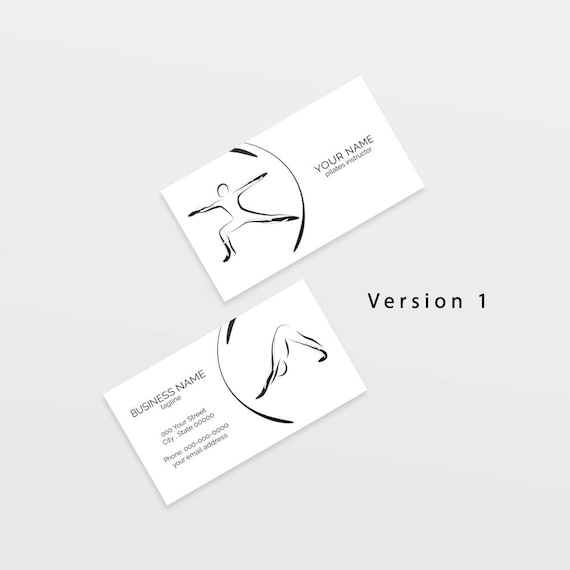 Yoga Business Card With Two Abstract Poses Yoga Logo Yoga Etsy