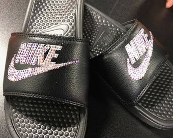Nike slides with swarovski crystals 173a1ea8f