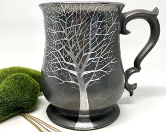 Vintage Antique Pewter Mug Hand Etched Tree Design /  Coffee Tea Mug / 10 year Anniversary Gift / Gift for Her / Gift for Him